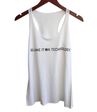 Blame it on Technology. Women's White Raw Edge Tank Top, Transmat Records