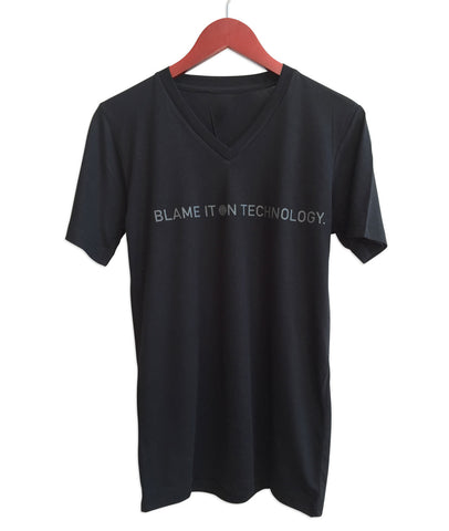 Blame it on Technology Black V-Neck Tee, Transmat Records. At Well Done Goods