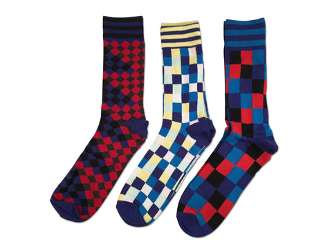 Parquet Fancy Socks, Blue and Red Geometric 3-Pack, by Well Done Goods