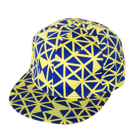 Blue & Yellow Geometric Snapback Hat, Well Done Goods