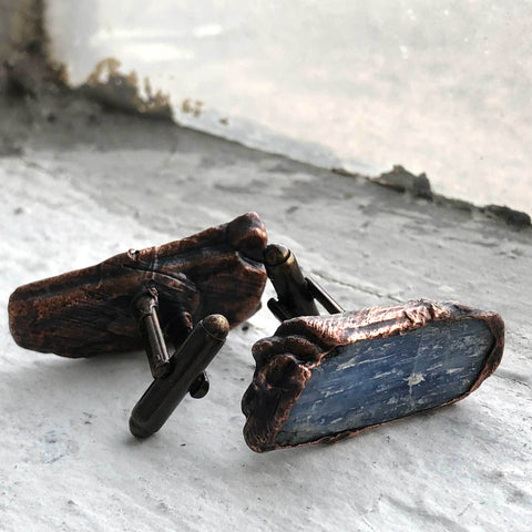 Blue Kyanite Blade Cufflinks, Electroformed Copper