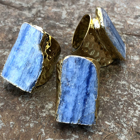 Blue Kyanite Adjustable Stone Ring, Hammered Gold