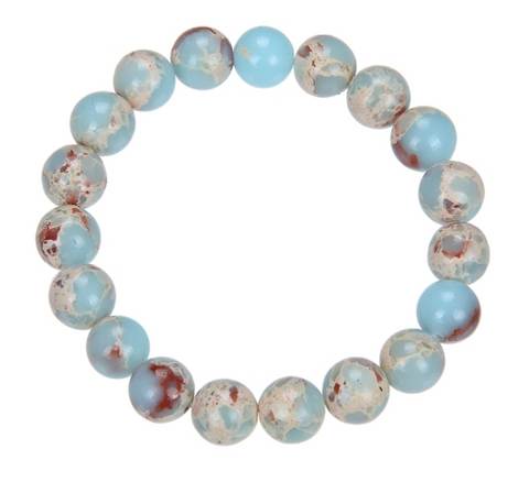 Blue Shoushan Stone Bead Mala Bracelet, 10mm