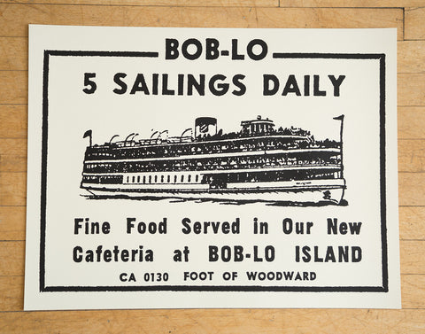 "Boblo Island Black on Cream Silkscreened Poster, Vintage Ad 19""x 25"", Well Done Goods"