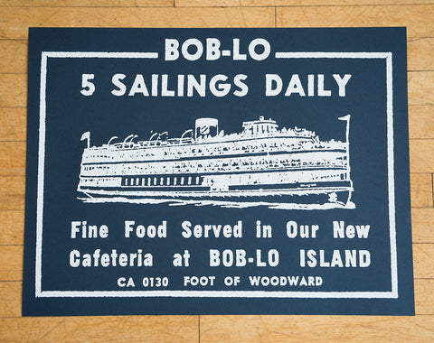 "Boblo Island White on Navy Silkscreened Poster, Vintage Ad 19""x 25"", Well Done Goods"