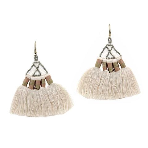 Boho Beaded Tassel Earrings, Cream. Well Done Goods