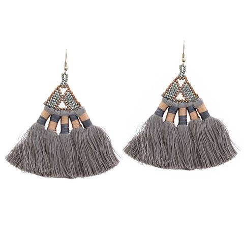 Boho Beaded Tassel Earrings, Storm Grey. Well Done Goods