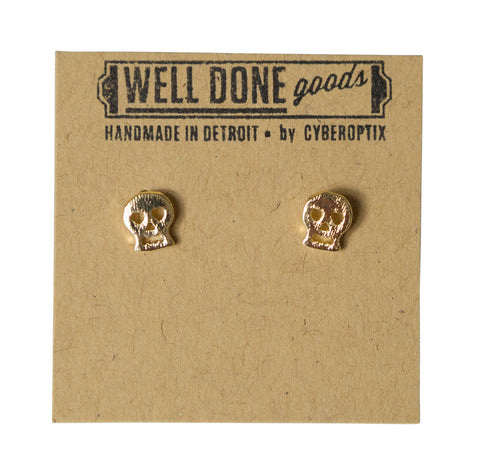 Bonehead Gold Stud Earrings, Well Done Goods