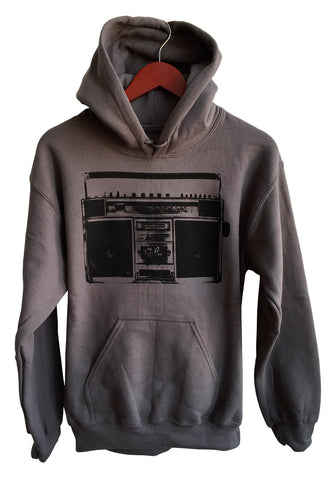 Boombox Print Unisex Black on Charcoal Pullover Hoodie, Well Done Goods