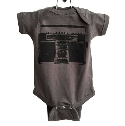 Boombox Baby Onesie, Vintage Radio Creeper. Black on charcoal, by Well Done Goods