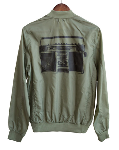 Boombox Lightweight Bomber Jacket, Vintage Radio Print, Well Done Goods