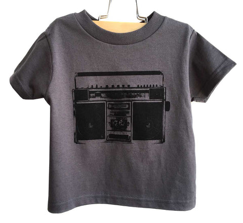 Boombox Silkscreen Print Toddler T-Shirt, Charcoal Grey. Well Done Goods