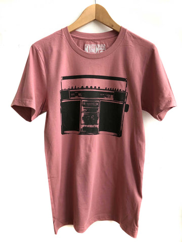Mauve pink Boombox Print T-Shirt, Well Done Goods