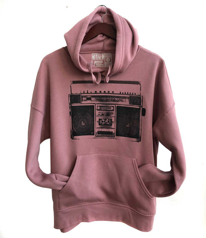 Boombox Pullover Hoodie, black on mauve.  Well Done Goods