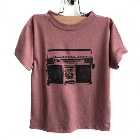 Boombox Silkscreen Print Toddler T-Shirt, Mauve Triblend. Well Done Goods