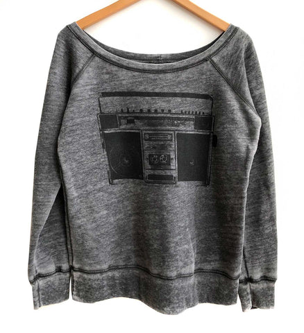 Boombox Print Women's Wide Neck Sweatshirt, acid wash grey, Well Done Goods