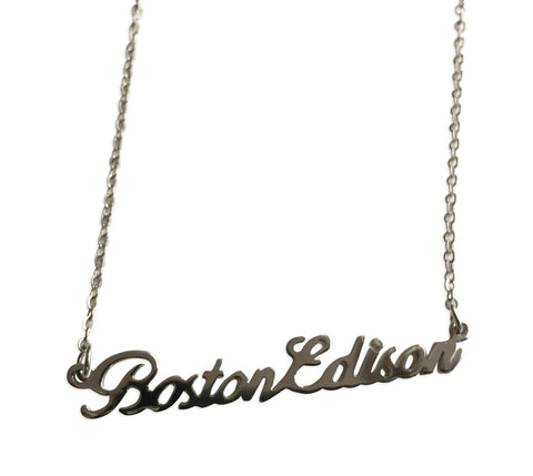 Boston Edison Silver Script Necklace, Detroit Neighborhood Pendant, Well Done Goods