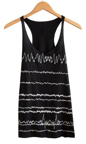Brainwaves Print White on Black Women's Tank Top, Well Done Goods