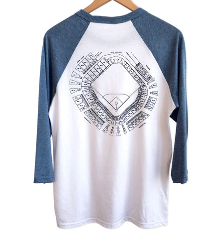 Old Tiger Stadium, Navin Field Blueprint Baseball Raglan Shirt, Well Done Goods