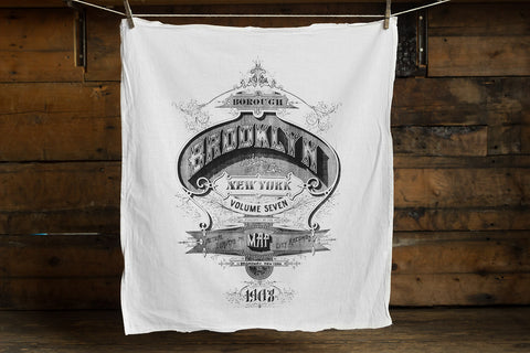 Brooklyn Typography Egyptian Cotton Flour Sack Towel, New York Borough Print, by Well Done Goods