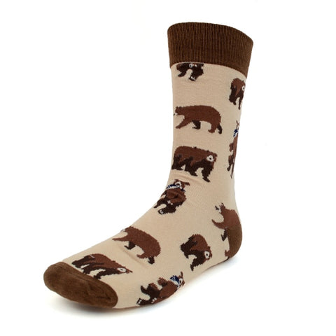 Brown Bear Socks, Men's Fancy Socks by Parquet