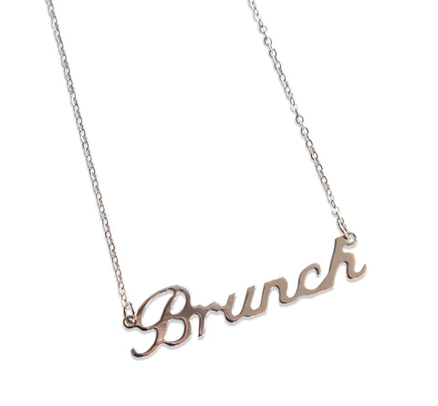 Silver Brunch Script Nameplate Necklace, Well Done Goods