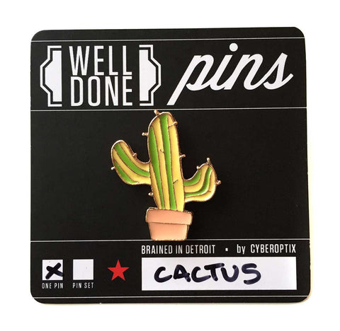 Cactus Enamel Pin, lapel pin. Well Done Goods by Cyberoptix