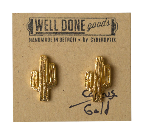 Cactus Gold Stud Earrings, Well Done Goods