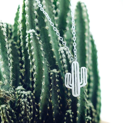 Cactus Necklace, silver plate. Well Done Goods