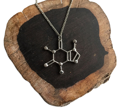 Large Caffeine Molecule Pendant Necklace: Silver. Well Done Goods