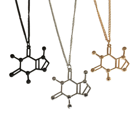 Large Caffeine Molecule Pendant Necklace: Black, silver, gold. Well Done Goods