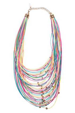 Multi-Strand Candy Colored Cord Necklace, Well Done Goods