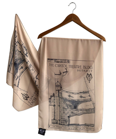Capitol Theatre Detroit 1921 Blueprint Ceiling Chiffon Scarf, Tan.