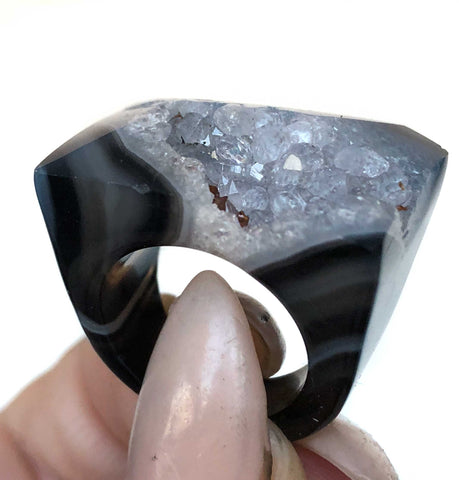 Druzy Crystal Statement Rings, Dark Agate Band