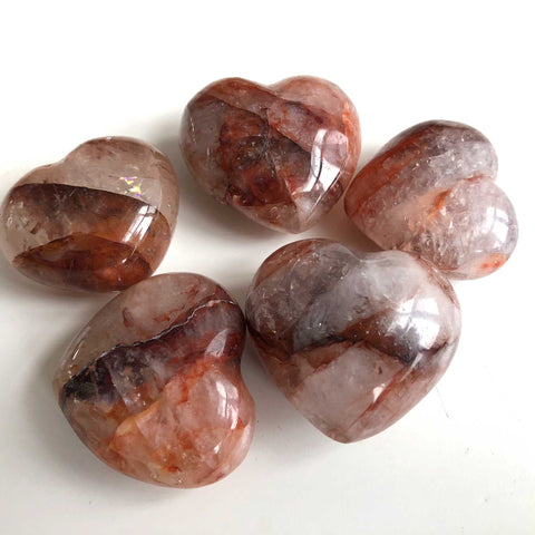 Fire Quartz Polished Heart Palm Stone, Red Strawberry Hematoid Quartz Madagascar.