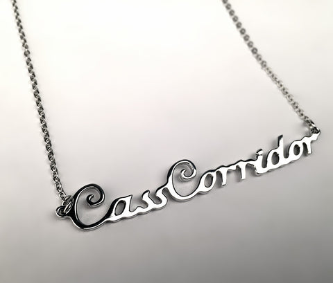 Silver Detroit Neighborhood Script Necklace, Cass Corridor