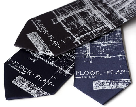 Navy blue Detroit Blueprint Necktie, Cass Tech Silkscreen Tie, by Cyberoptix Tie Lab