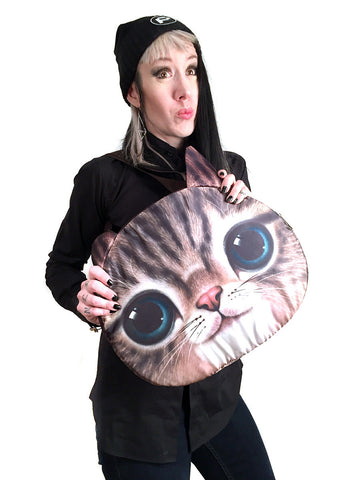 Giant Cat Face Bag, anime cat print. Well Done Goods Store