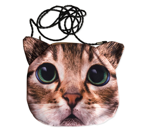 Small Cat Face Purse, Warm Brown Tabby with Green Eyes Bag, by Well Done Goods