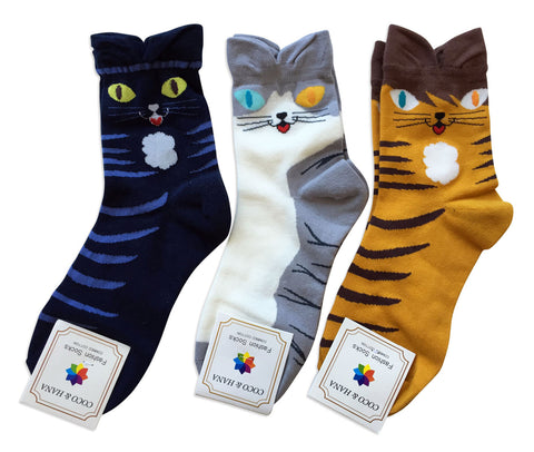 Cute Cat Face Socks, Well Done Goods