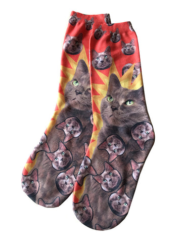 Cat Socks, Exploding Rozwell Grey Kitty Print