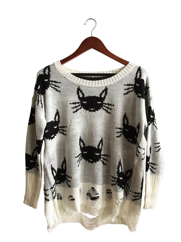 Reversible Black and White Cat Sweater, Well Done Goods