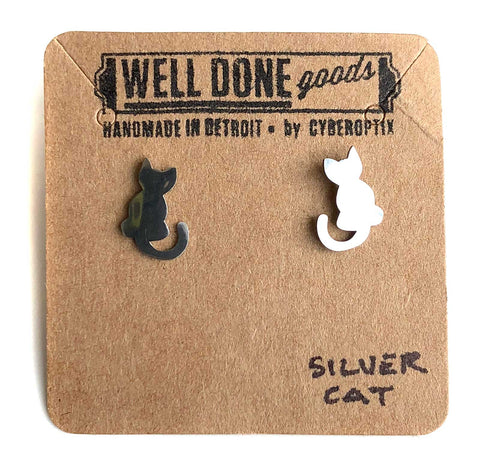 Cute Cat Silhouette Stud Earrings, Silver. Well Done Goods