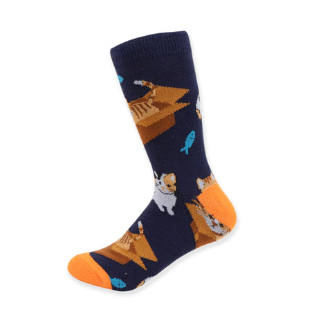 Cats in a Box Socks. Women's Fancy Socks, by Parquet.