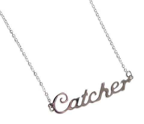 Catcher Script Necklace, Baseball Theme Pendant