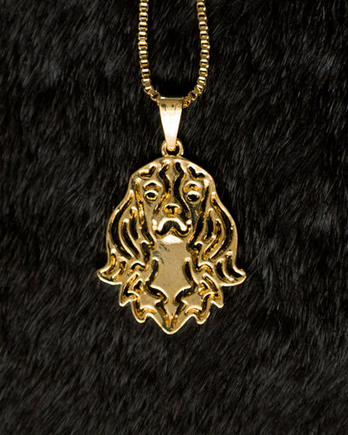 Cavalier King Charles Spaniel Gold Wireframe Necklace, Well Done Goods
