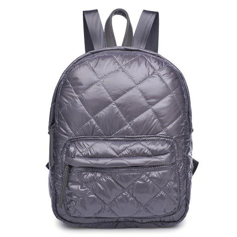 Quilted mini backpack, charcoal grey.  Well Done Goods
