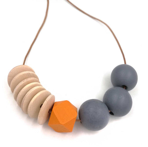 Wood Bead Necklace: orange, grey, natural. Well Done Goods