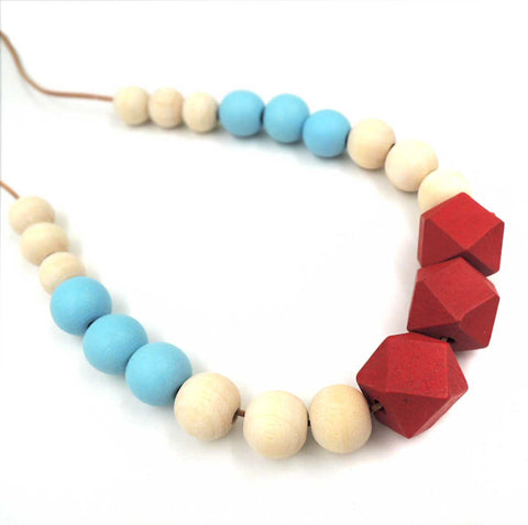 Wood Bead Necklace: turquoise, red, natural. Well Done Goods