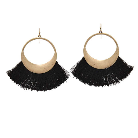 Brass Circle Fan Tassel Drop Earrings, Black. Well Done Goods